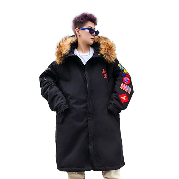 Winter Embroidery Loose Jacket Men With Fur collar Hooded Windbreaker Coats Long section dovetail Cotton Wadded Thick Outerwear