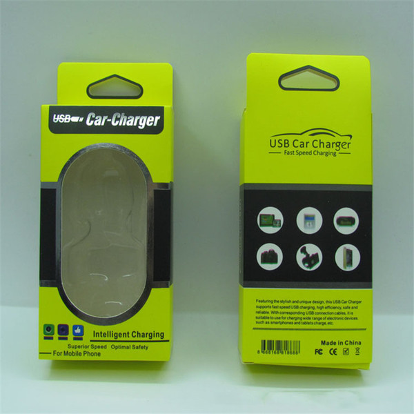 Boş Kağıt USB Araç Şarj Perakende Paket Kutusu Caver Durumda Fit En 4 CM X 8.5 CM Tek Çift USB Araç Şarj dhl STY142