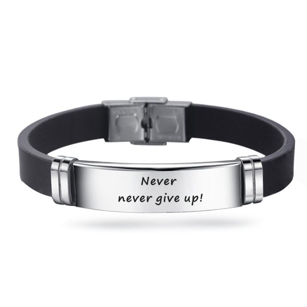 Never give up Inspirational Bracelets Engraving Stainless Steel Bracelet 5 Styles Gifts for Men Jewelry free shipping