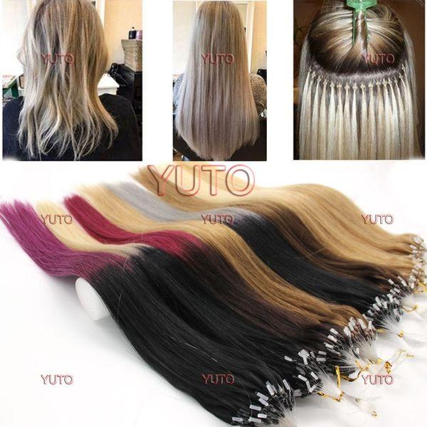 100 unids Real Hair Extensions Easy Loop / Micro anillo Beads ombre colores Extensiones de cabello de la mujer 14-26 pulgadas recta larga