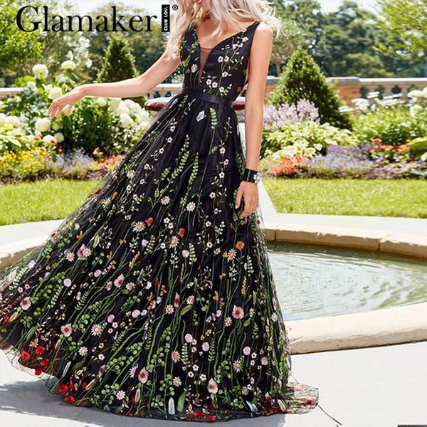 Glamaker Örgü Vintage Çiçekli Nakış Maxi Elbise Kadın Yaz Backless Plaj Siyah Elbise Seksi V Boyun Zarif Uzun Parti Elbise T190409