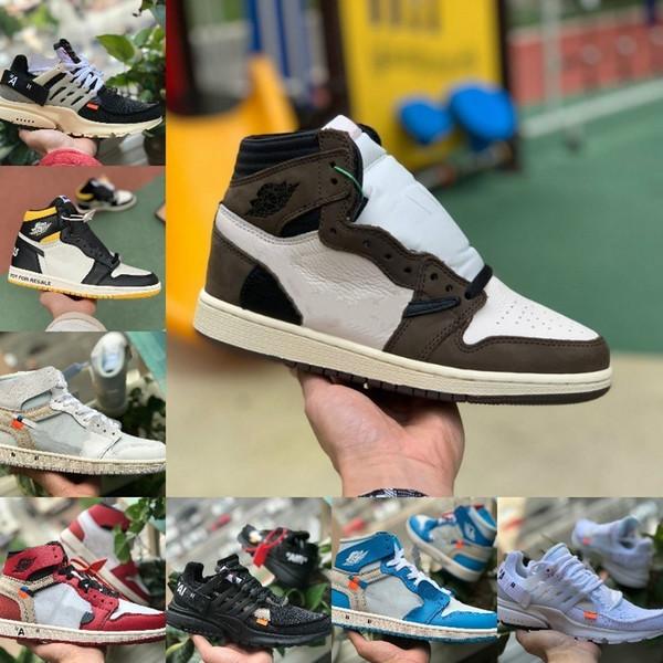 Sale Travis Scotts X 1 High OG Mid Basketball Shoes Cheap UNC Chicago Bred White Toe Men Women 1s Not For Resale V2 Presto Designer Sneakers