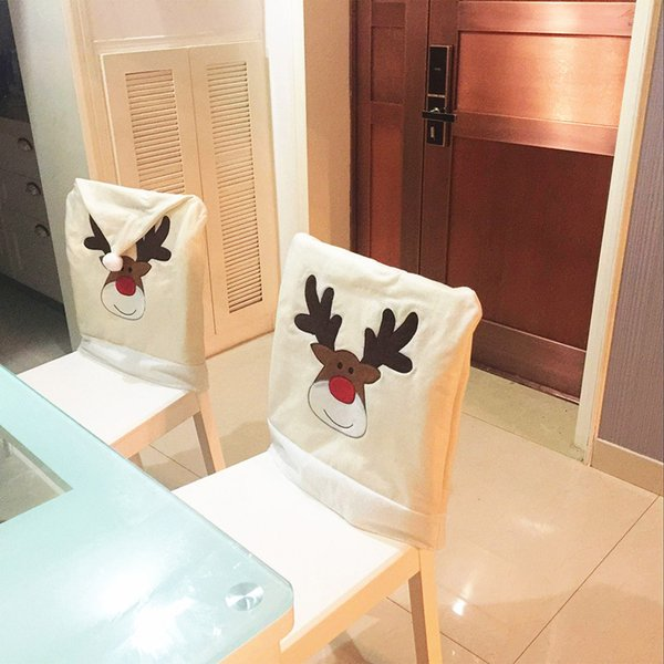 New Year Santa Chair covers dining Set with deer Christmas Decor Family Elk Chair covers dining room Cover Home wedding