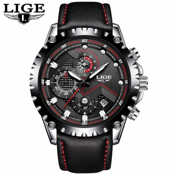 7609cbe7c45 LIGE Assista Homens de Negócios Top Marca de Luxo Relógio de Quartzo dos  homens de Couro
