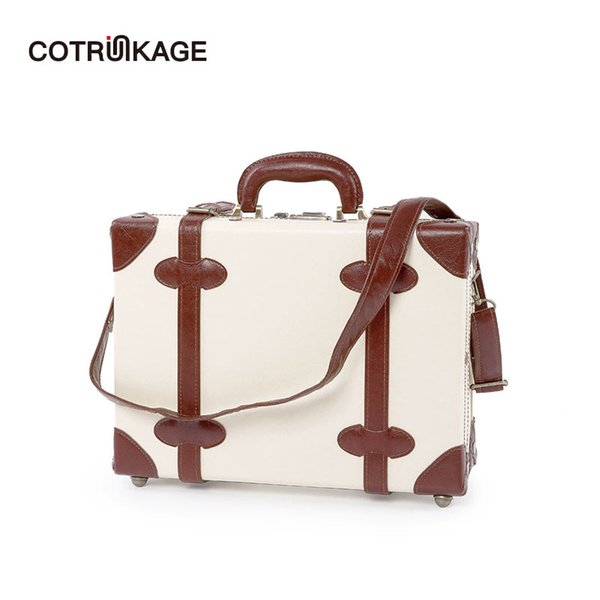 """COTRUNKAGE Women 16"""" 18"""" Ivory Pu Leather Cabin Case Vintage Hardside Carry On Suitcase Bag Travel Hand Carry Luggage Trunk"""