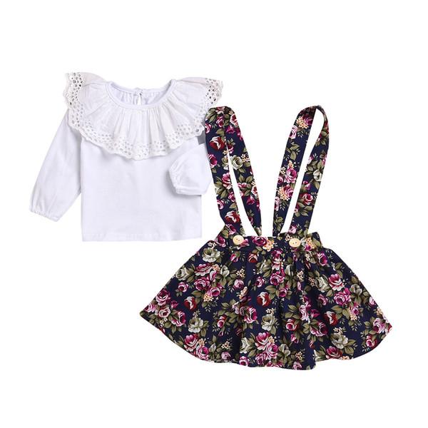 Neue Baby-Kleidungssatz-weiße Baumwolloberseite mit gesticktem großem Cape-Kragen + Retro- Blumenüberrock 2pcs stellte 12M-6Y Hotsale ein