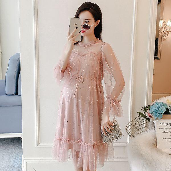 2019 Nueva Marca de Primavera Vestido de Maternidad Mujer Suave Vestidos de Gran Tamaño Mujer Embarazada Vestido de Maternidad Casual MD-00624