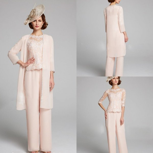 Light Pink Mother Of The Bride Pant Suit 3 Piece Chic Plus Size Mother Of The Bride Dresses Sleeves Chiffon Lace Evening Gowns
