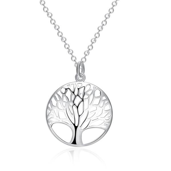 Nova Chegada Grande Promoção Sólida 925 Sterling Silver Para As Mulheres Senhoras Forma Redonda Da Árvore Pingente de Colar de Jóias Acessórios