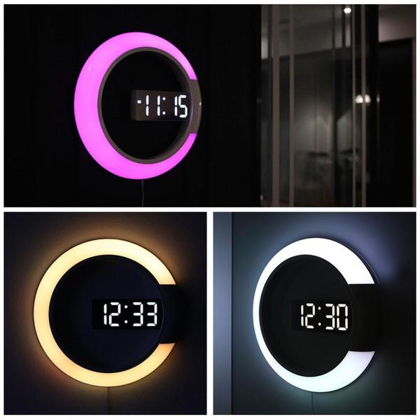 Orologio da tavolo digitale a LED 3D Specchio di allarme Orologio da parete cavo Orologio da notte dal design moderno per decorazioni domestiche