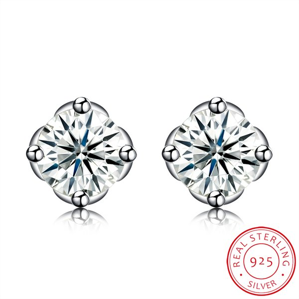 Sterling Silver Earrings Geometric Pattern Mosaic White Zircon Accessories Stud Earring Exquisite Simple Valentine's Day Gifts POTALA091