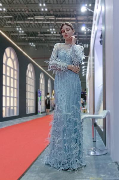 2019 incrível Great Gatsby sereia vestidos de noite De Luxo Do Vintage com pena de Avestruz sexy mangas compridas Designer prom Vestidos em estoque