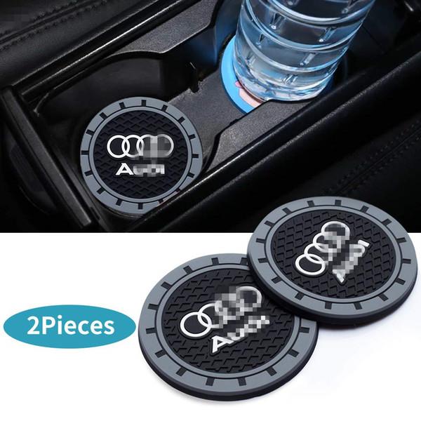 2 Pcs 2.75 inch Car Interior Accessories Anti Slip Cup Mat for Audi A3 S3 RS3 A4 S4 A5 S5 RS5 A6 S6 A7 S7 RS7 A8 Q3 Q5 SQ5 Q7 Q8