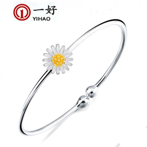 Pulsera de plata esterlina flores de margarita de apertura Accesorios de la pulsera joyería pequeña y fresca que vende Corea del Sur explosión