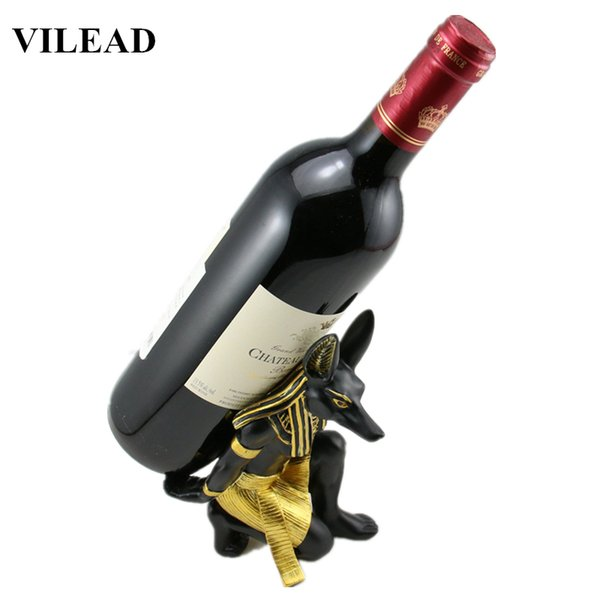 Vilead 7'' Resin Anubis God Wine Rack Figurines Egypt Dog God Miniatures Statue For Vintage Home Decor Creative Crafts Gifts J190712
