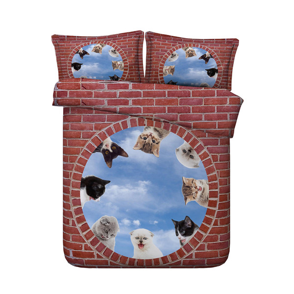 3D Cat Bedding Sets with 2 Pillow Shams Without Comforter Insert with Zipper Closure 3pcs Kids Duvet Cover Full Girls for Teens Boys kids