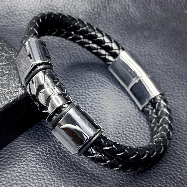 2019 New Design Men Leather Bracelet Jewelry Punk Stainless Steel Magnetic Clasp Male Wrist Band Vintage Bracelet Bangle SP0088