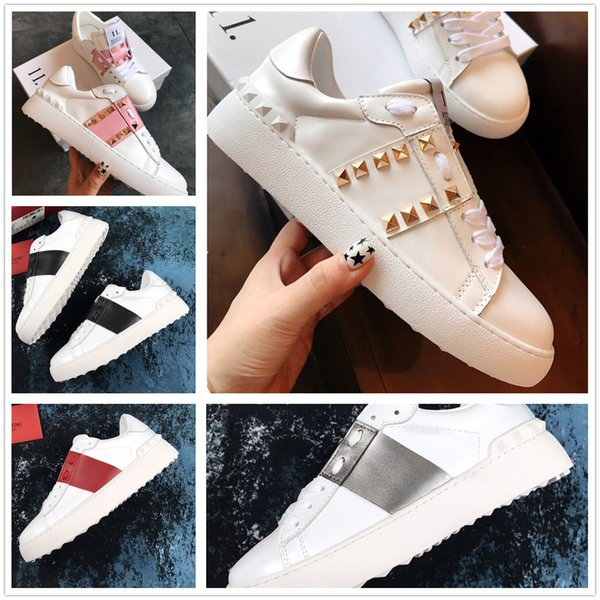 Valentinos shoes Confort Casual Chaussures Femmes Hommes Marque Rivets Appartements Chaussures Tissage Cuir Patchwork Trendy Casual Chaussures Cloutés Sports Skateboard Tennis