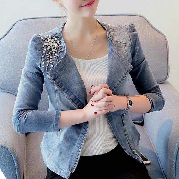 2019 donne dei rivestimenti del denim sottile casuale Pearl Bead cerniera dei jeans cappotto femminile