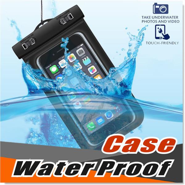Universal para iphone 7 6 6s más samsung S9 S7 Funda impermeable Funda impermeable para teléfono celular Bolsa seca para teléfono inteligente de hasta 5,8 pulgadas en diagonal