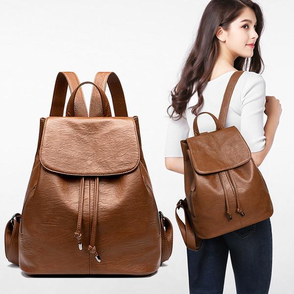 new trend explosion models waterproof buckle shoulder bag composite leather leisure bag female soft bag travel black backpack
