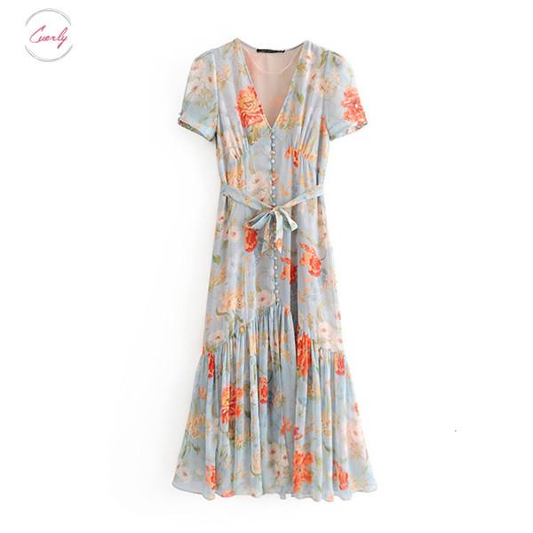 Stilvolle Kleider mit Blumenmustern Art und Weise faltet Chiffon- Midi-Kleid-Frauen 2019 mit V-Ausschnitt Bow Tie Schärpen Gelegenheits Femme Vestidos