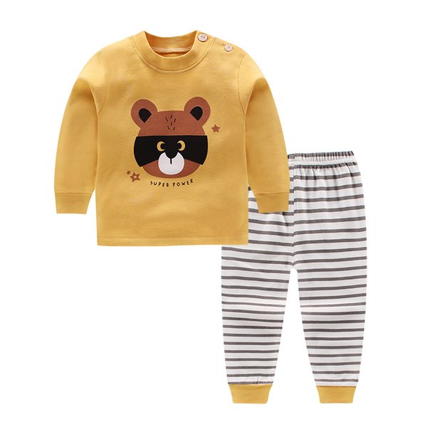 Baby Boys Clothes Autumn Winter Baby Clothes Sets T-shirt+Shorts 2pieces Bear Printed Clothes Newborn Sport Suits Y190515