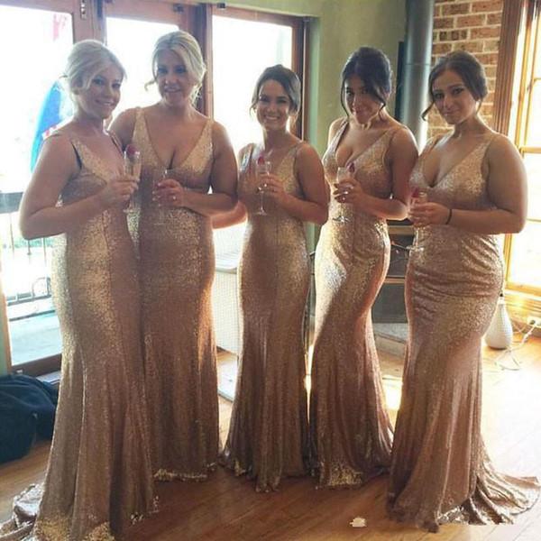 Seksi Derin V Boyun Altın Payetli Abiye 2017 Artı Boyutu Kılıf Gelinlik Modelleri Kat Uzunluk Düğün Konuk Parti Törenlerinde Custom Made