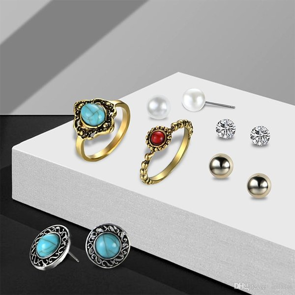 2018 New Vintage Turquoise Earrings Ring Set Combination Fashion Antique Gold Pearl Crystal Earrings Jewelry Wholesale