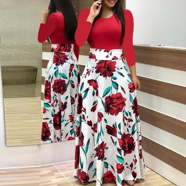 Women Plus Size Ladies Short Sleeve Round neck Color Matching Print Floral Boho Maxi Dress Clothing
