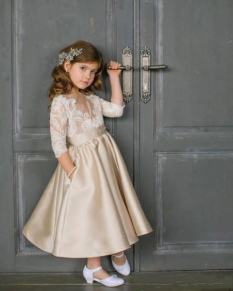 2019 champagne ball gown flower girl dresses lace appliques satin floor length vintage girl pageant dress bc1641