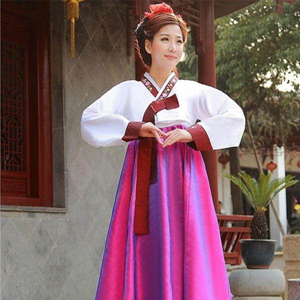 4 colors limited offer woman elegant korea hanbok traditional dress female national korean dance costume for performance