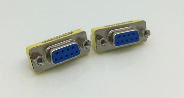 1 pcs 9 Pinos RS-232 DB9 FeMale para FeMale Serial Cable Gênero Changer Adaptador Acoplador DB9 estender adpter frete grátis venda quente novo atacado