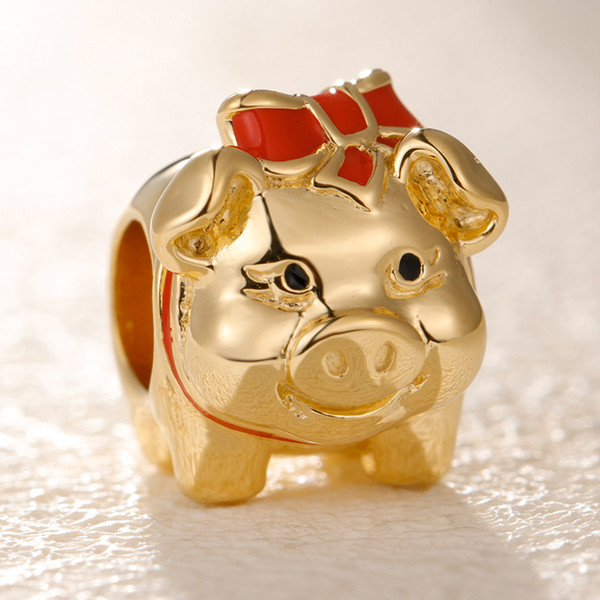 684971a0c 2019 Valentine Release Shine Piggy Bank Charm 18K Gold Overlay Sterling  Silver charms beads Fits pandora