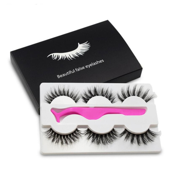 3 Pairs Natural Long False Eyelashes Makeup 5D Mink Lashes Eyelash Extension Mink Eyelashes with Eyelashes Applicator