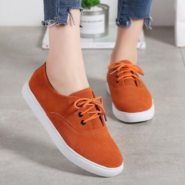 2019 Spring Sneakers Casual Flats Shoes Women Leather Suede Lace Up Boat Shoes Round Toe Female Flat Single Shoes A372