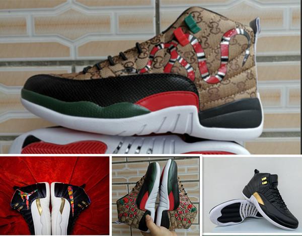 12 GS generación de serpiente Negro Marrón Rojo hombres zapatos de baloncesto nuevo estilo 12s para hombre piel de serpiente CNY deportes diseñador zapatillas 7-13