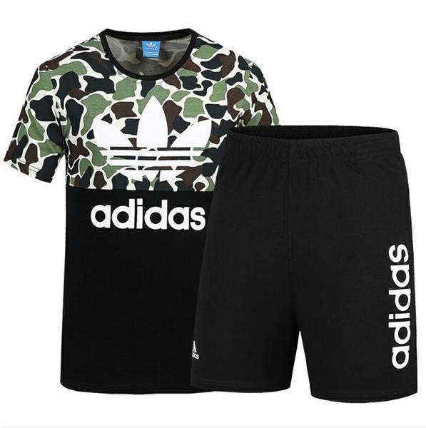 2019 Summer Brand Tuta da uomo Sportswear con lettere Fashion Suit maniche corte Pullover Casual Jogger Pants O-Collo Abbigliamento L-4XL