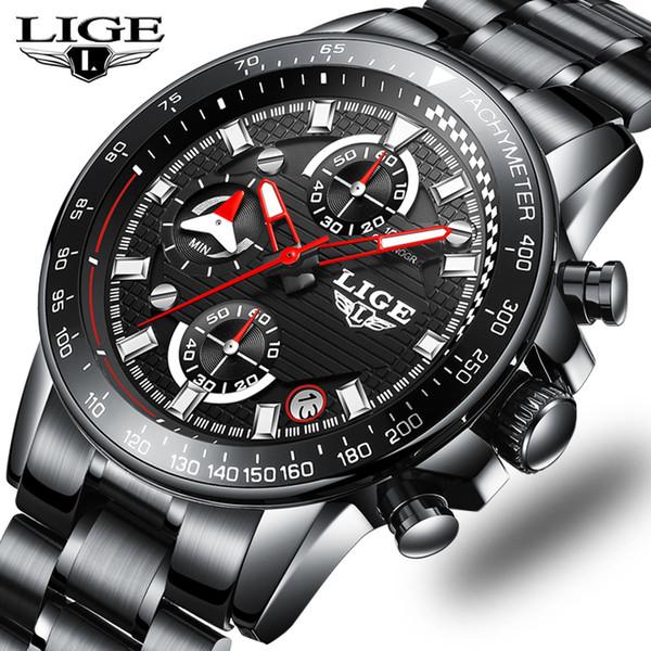Marca al por mayor Relojes para hombre Reloj de cuarzo para hombres Reloj de acero inoxidable Impermeable Cronógrafo Reloj deportivo Relogio masculino + B