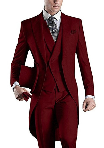 Wine Wedding Tuxedos Slim Fit Suits For Men Groomsmen Suit Three Pieces Cheap Prom Formal Suits (Jacket +Pants+Vest+Tie)NO:958