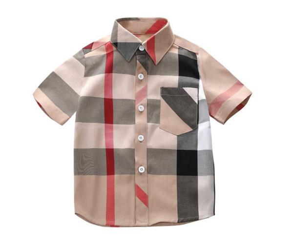 2019 Children short sleeve T-shirt kindergarten kids boy girl POLOS parent-child polo shirt customize print lattice color summer shirt top t