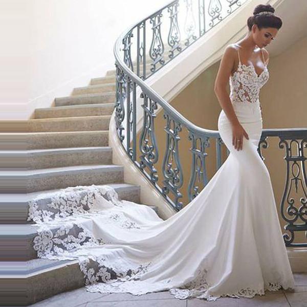 Свадебные платья Русалка 2019 Vestidos de novia Винтажные кружевные аппликации Милая шея свадебное платье Спинки Свадебные платья Индивидуальные
