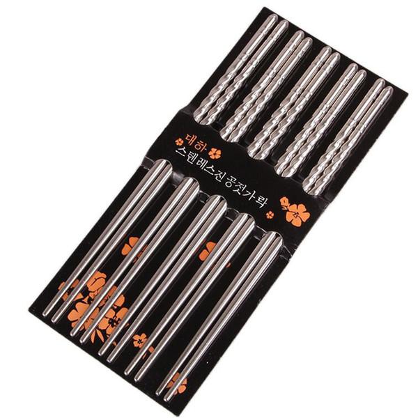 Essstäbchen Neue Mode Im Chinesischen Stil Essstäbchen 5 Paar Metall Wiederverwendbare Korean Edelstahl Geschirr Palillos chinos # 4NV14