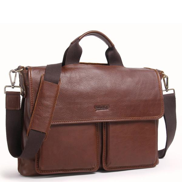 """Classic Men's genuine leather shoulder bag 2019 Business Men's genuine leather briefcase for 14"""" computer bag for men Handbag"""