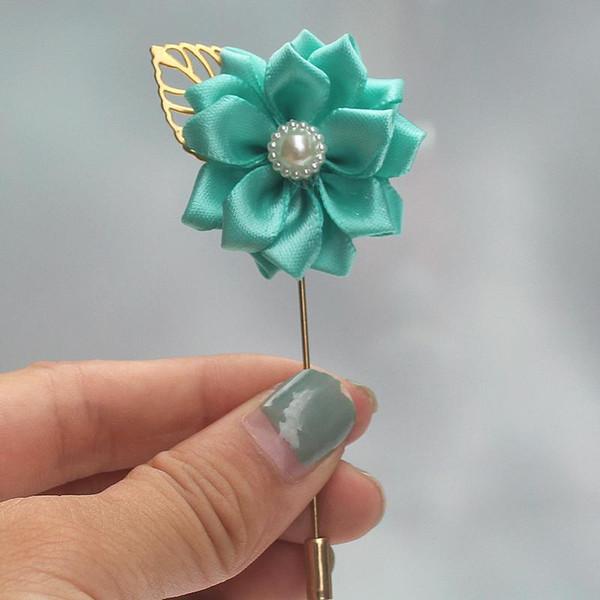 Marfim Satin Flower Groom Pin Ramillete Flower De Mariage Golden Leaf Wedding Nupcial Ramillete Broches para hombre Traje