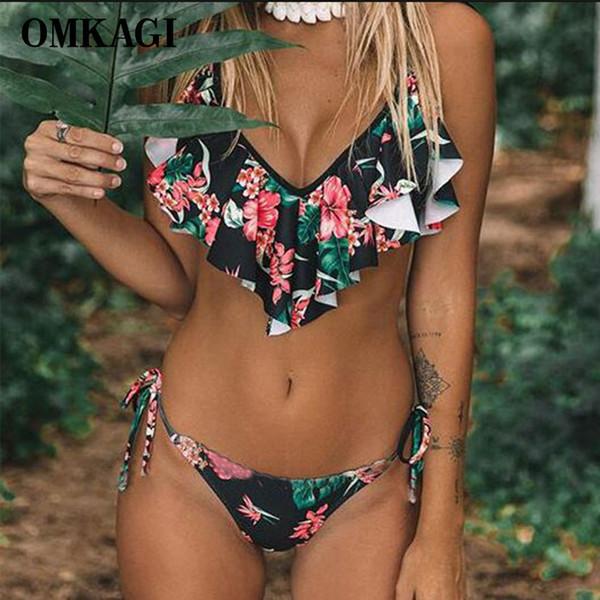 Omkagi Bikini di marca 2019 Costume da bagno Costumi da bagno Donna Sexy Push Up Fasciatura femminile Tuta da bagno Per Le donne Costume da bagno Beachwear Y19052002