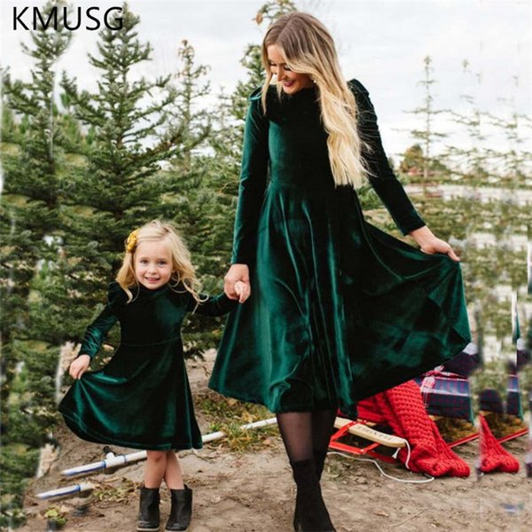 Mother daughter dresses Christmas Long Velvet Dress Mother and Daughter Clothes Mom and Me Family Matching Clothes H0902