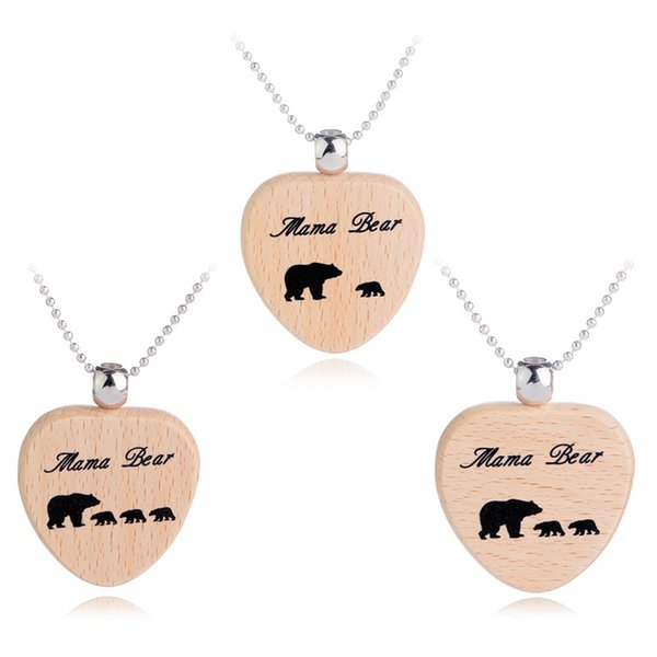 Mama Bear 2 Babies Wood Heart Pendant Chain Necklace Gifts For Family Animal Charm Kids Children Mom Mothers Jewelry