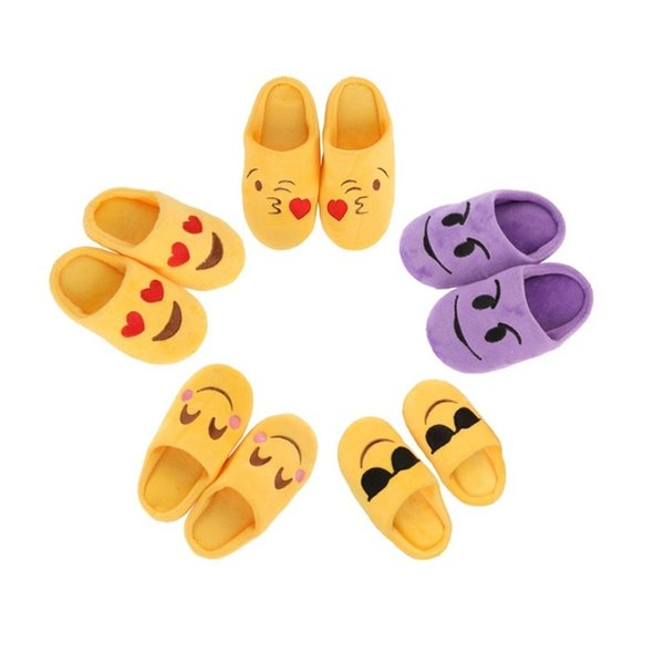 Baby Girl Boys Winter Warm Cute Slippers Expression Package Cotton Slippers Children Smiling Face Section Cool Flip Flop NPZ10