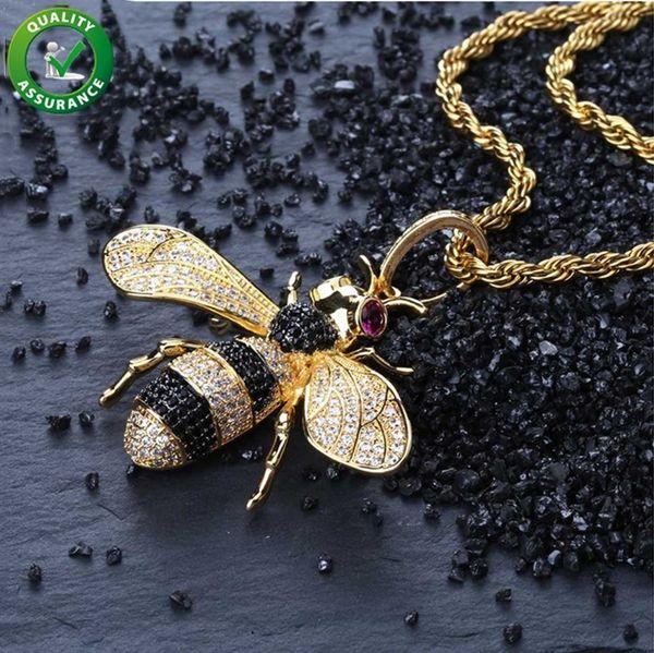 Colgante helado Hip Hop Jewelry Micropave Diamante simulado CZ Bling Bee Colgante Collar con cadena de cuerda para hombres Marca de diseñador de lujo